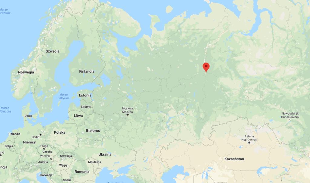 Mapa Rosji  i przełęcz Diatłowa