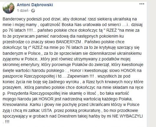 Pan Antoni Dąbrowski przeżył Wołyń - teraz czeka go walka z polskim prawem